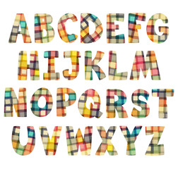Colorful children squares alphabet