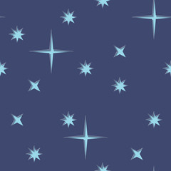 Night sky with stars seamless texture. Vector background