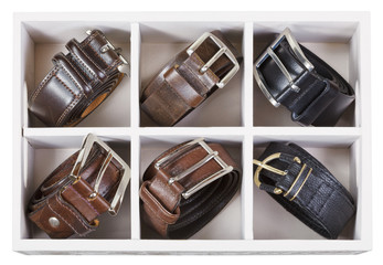 top view of storage box with leather belts
