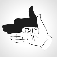 Vector hand gesture like dog face with shadow