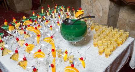 Catering - alcohol cocktails with wine bowl and ladle