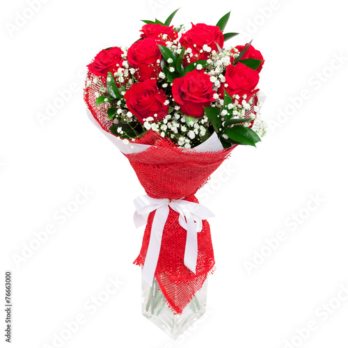 Plexiglas Rozen Red roses in a glass vase