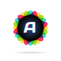Retro bright colors Logotype, Letter A