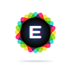 Retro bright colors Logotype, Letter E