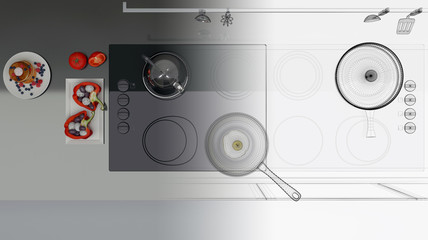 Mockup Ortogonale Cucina Fornelli