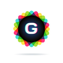 Retro bright colors Logotype, Letter G