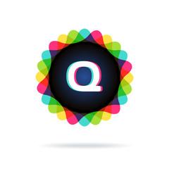 Retro bright colors Logotype, Letter Q
