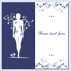 Greeting card with flowers and girl silhouette