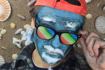 crazy blue man