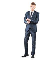 Full length portrait on young handsome man. Elegant man