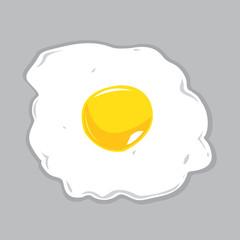 Sunny Side Up Egg Vector Illustration.