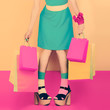 fashion funny lady with shopping. time sales and discounts