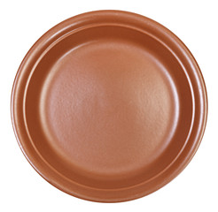 top view of ceramic brown dinner plate isolated