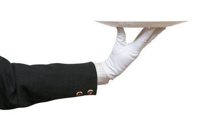 side view of arm in white glove with white plate