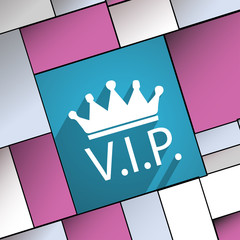 Vip icon symbol Flat modern web design with long