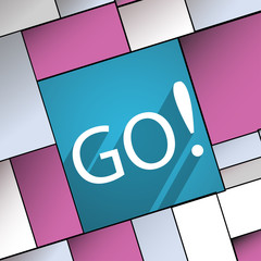 GO icon symbol Flat modern web design with long
