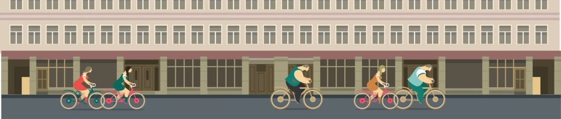biking through the city streets