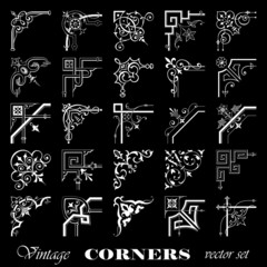 Vector set of vintage corners isolated on black background