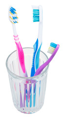 three tooth brushes in glass