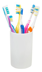 five tooth brushes and interdental brush