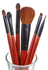 makeup brush set isolated on white