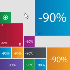 90 percent discount sign icon. Sale symbol. Speci