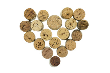Wine corks form filled with heart shape isolated