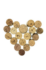 Wine corks form filled with heart shape vertical