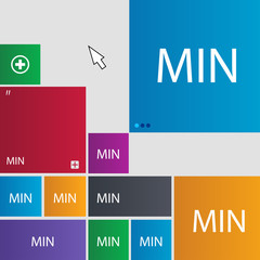 minimum sign icon. Set of colored buttons. Vector