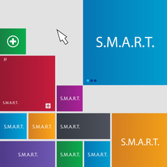 Smart  sign icon. Press button. Set of colored butto