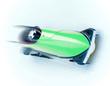 Leinwandbild Motiv grüner Zweierbob im Eiskanal