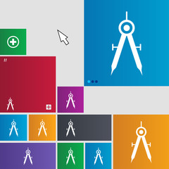 Mathematical Compass sign icon. Set of colored b