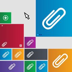 Paper clip sign icon. Clip symbol. Set of colored bu