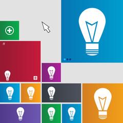 Light lamp sign icon. Idea symbol. Lightis on. Set o