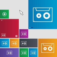 cassette sign icon. Audiocassette symbol. Set of co