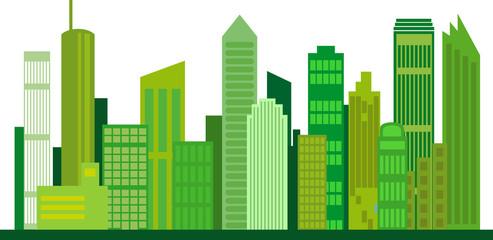 Umweltfreundliche, grüne Stadt der Zukunft, Vektor