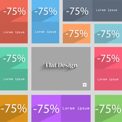 75 percent discount sign icon. Sale symbol. Speci