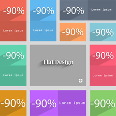 90 percent discount sign icon. Sale symbol. Speci