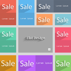 Sale tag. Icon for special offer. Set of colored butto