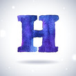 Watercolor letter H with shadow on bokeh background
