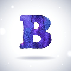 Watercolor letter B with shadow on bokeh background