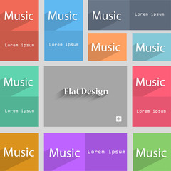 music sign icon. Karaoke symbol. Set of colored b