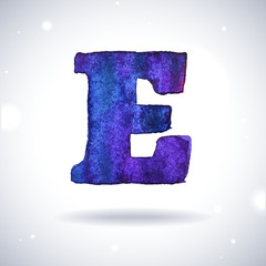 Watercolor letter E with shadow on bokeh background