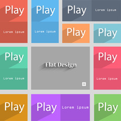 Play sign icon. symbol. Set of colored buttons. Vec