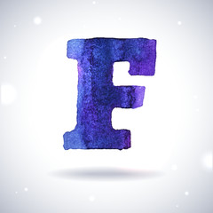 Watercolor letter F with shadow on bokeh background
