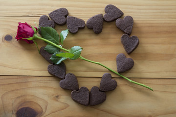 Heart of cookies with Rose