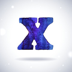 Watercolor letter X with shadow on bokeh background