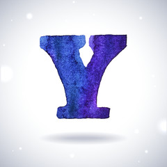 Watercolor letter Y with shadow on bokeh background