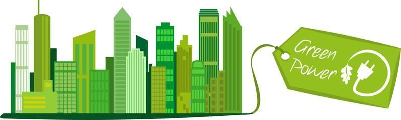 Saubere Stadt mit Green Power