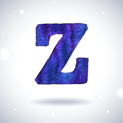 Watercolor letter Z with shadow on bokeh background